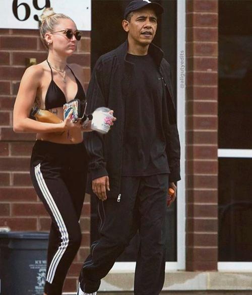 Miley Cyrus pasea con Obama y la foto causa revuelo
