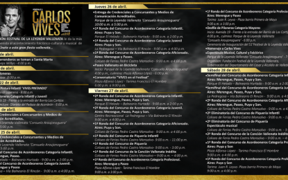 Programación oficial del 51° Festival de la Leyenda Vallenata en homenaje a Carlos Vives