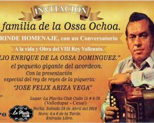 Este 28 de abril realizarán homenaje a Julio Enrique de la Ossa, 8° Rey del Festival Vallenato