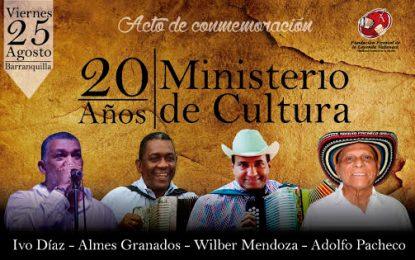 La música vallenata se une a la conmemoración de los 20 años del Ministerio de Cultura