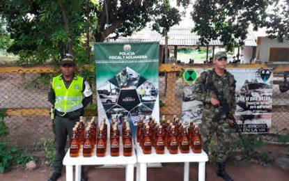 Ejército Nacional decomisa licor de contrabando en La Paz, Cesar