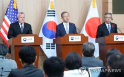 EE.UU, Corea del Sur y Japón acuerdan buscar opciones para resolver pacíficamente problema nuclear con Norcorea