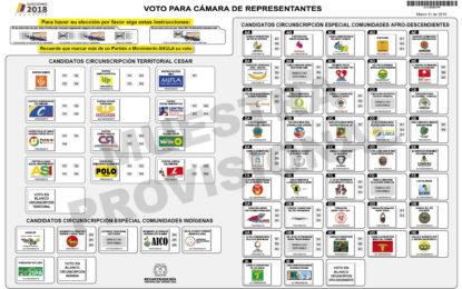 Conozca el tarjetón para votar en las elecciones a congreso en Cesar