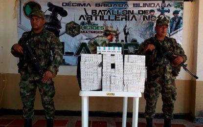 Ejército incauta 55 mil unidades de cigarrillos en el Cesar