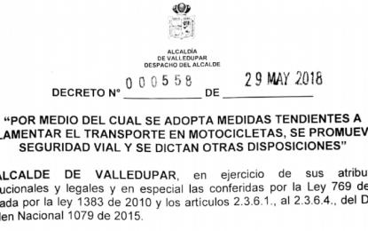 Día sin moto en Valledupar se extiende por seis meses más