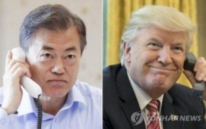 Trump y presidente surcoreano Moon prometen esfuerzos para una cumbre exitosa con Corea del Norte