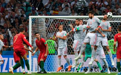 Con triplete de Cristiano Ronaldo, Portugal empató con España