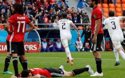 Uruguay ganó 1-0 contra Egipto en el último minuto